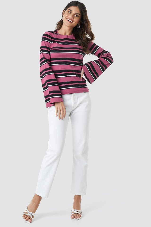 Wide Sleeve Striped Top Outfit.