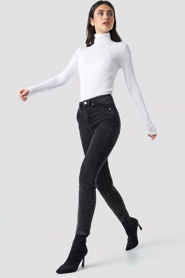 White Polo Neck Long Sleeve Top
