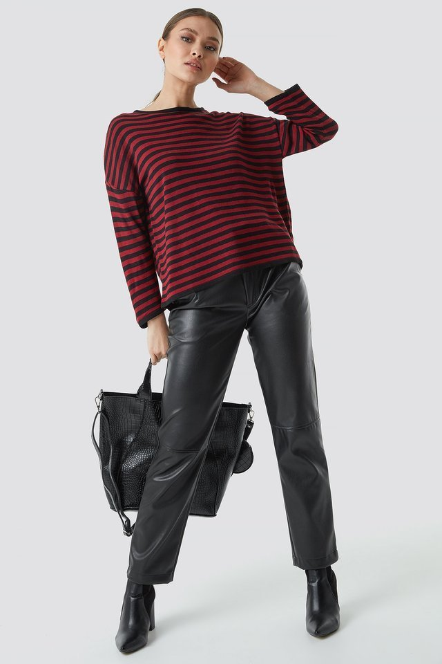 Slim Stripe Sweater Outfit.