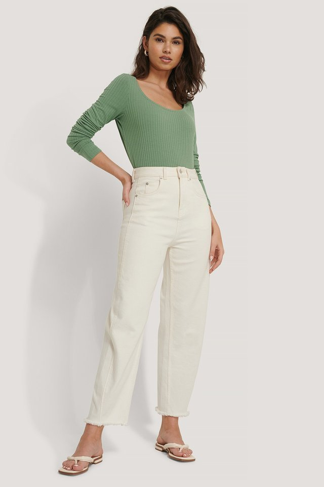 Ribbed Long Sleeve Cropped Top Outfit.
