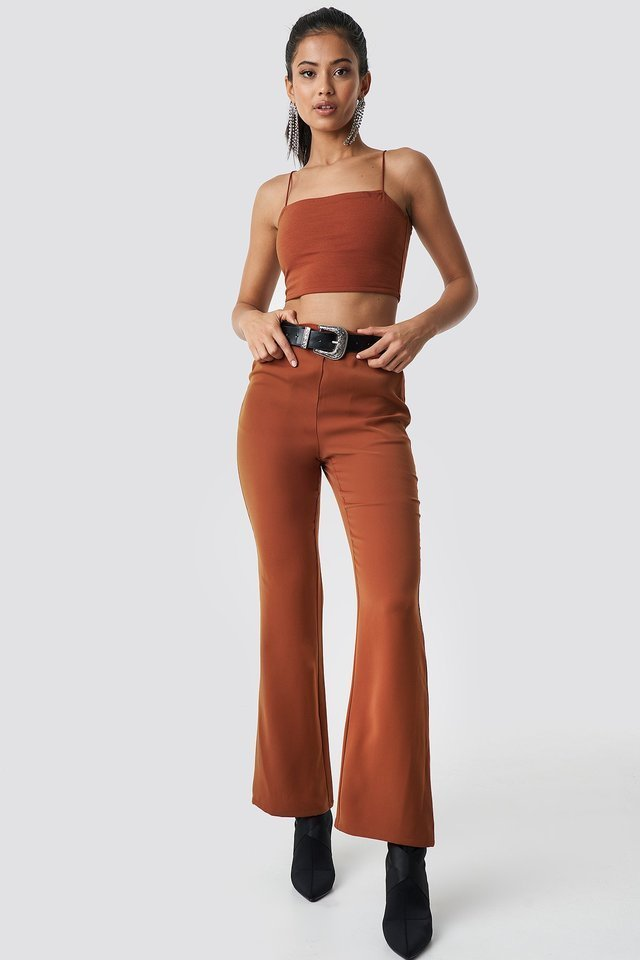 High Waist Bootcut Suit Pants Outfit.