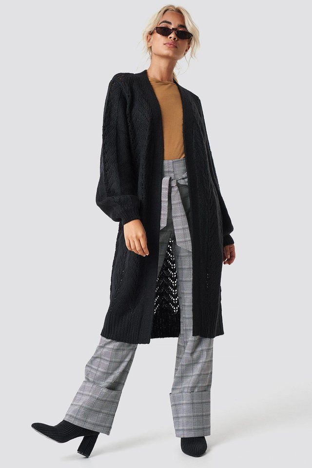 Long Cardigan Checkered Pants Outfit.