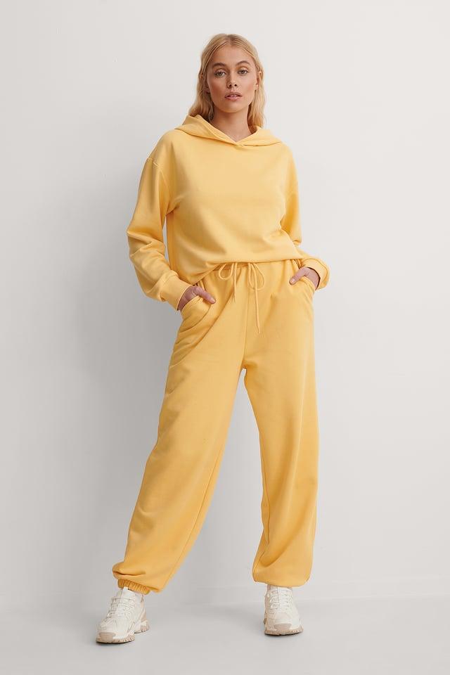 Yellow Organic Oversized Drawstring Sweatpants
