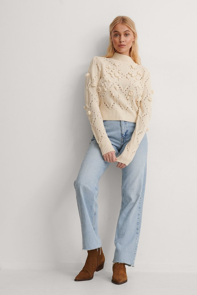 Pom Pom Detail High Neck Knitted Sweater Outfit.