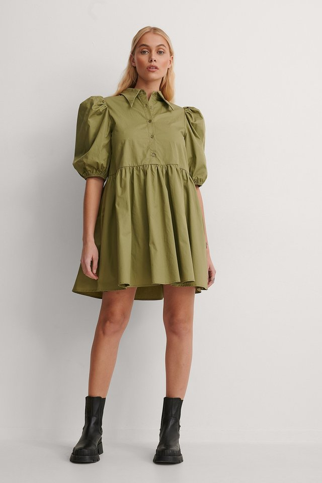 Pointy Collar Puff Sleeve Dress Outfit.