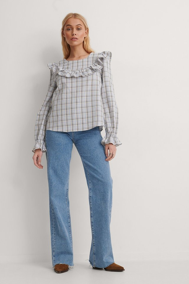 Plaid Ruffle Blouse Outfit.