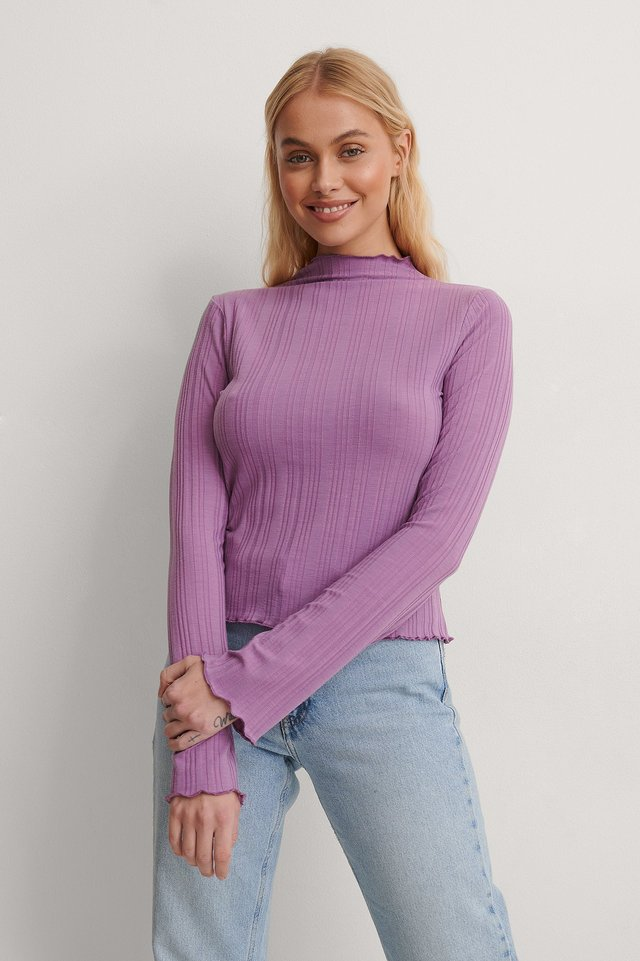 High Neck Babylock Rib Top Outfit.