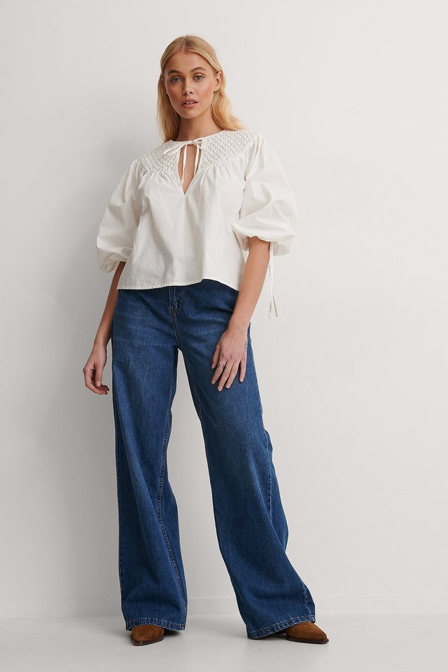 Fold And Tucked Blouse Outfit.