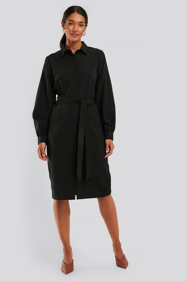 Black Recycled Balloon Sleeve Shirt Dress