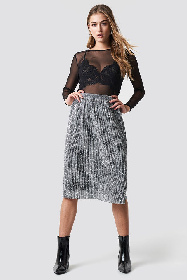 Midi Silver Skirt with Singlet