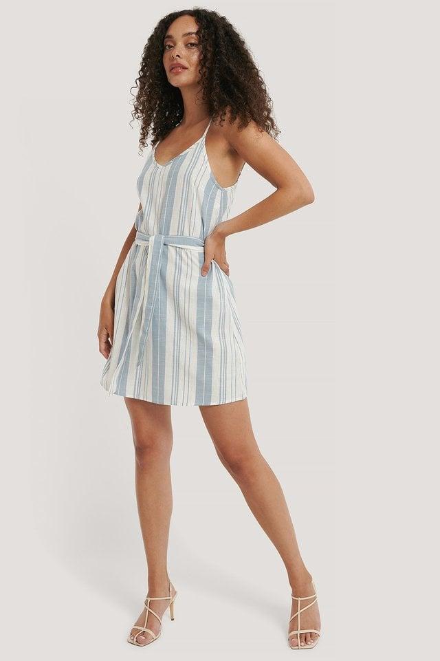Stripe Cotton Strap Dress Outfit.