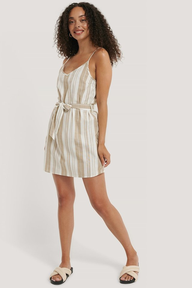 Stripe Cotton Strap Dress Outfit.