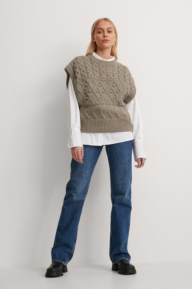Sleeveless Knit Sweater Outfit.