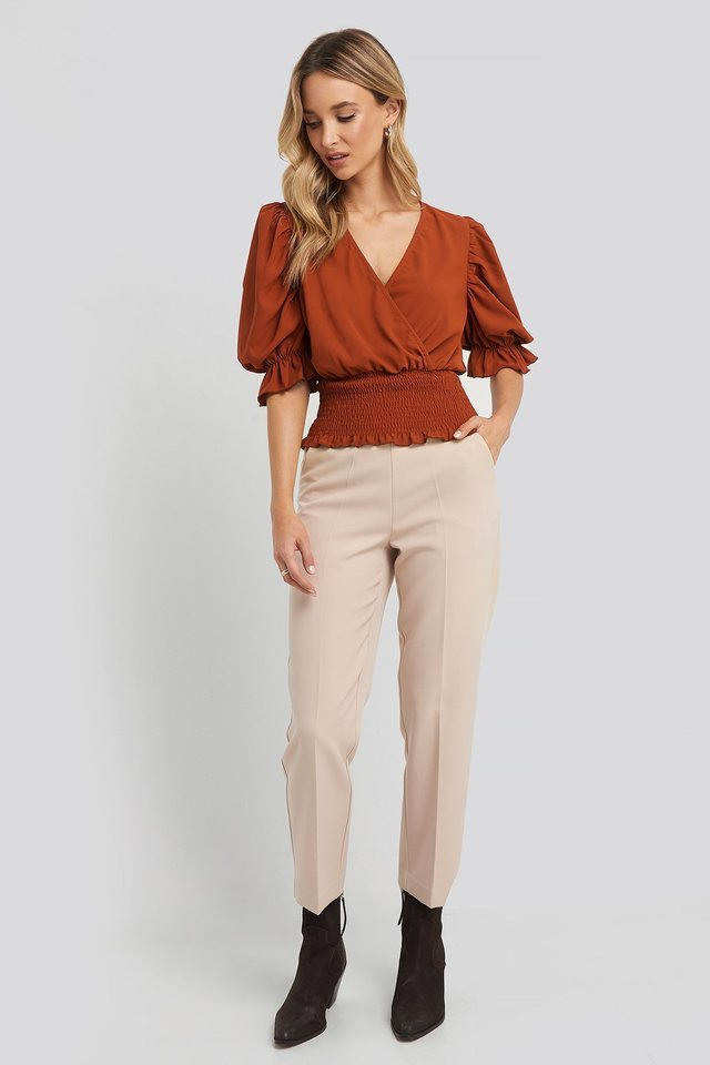 Beige Cropped High Rise Suit Pants