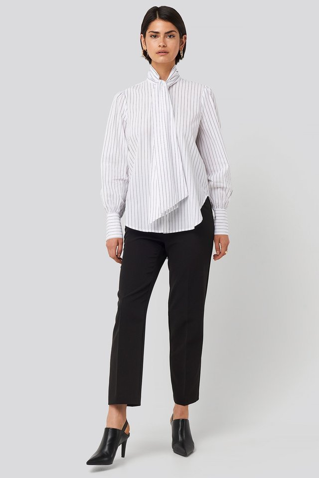 Striped Tie Knot Shirt Outfit.