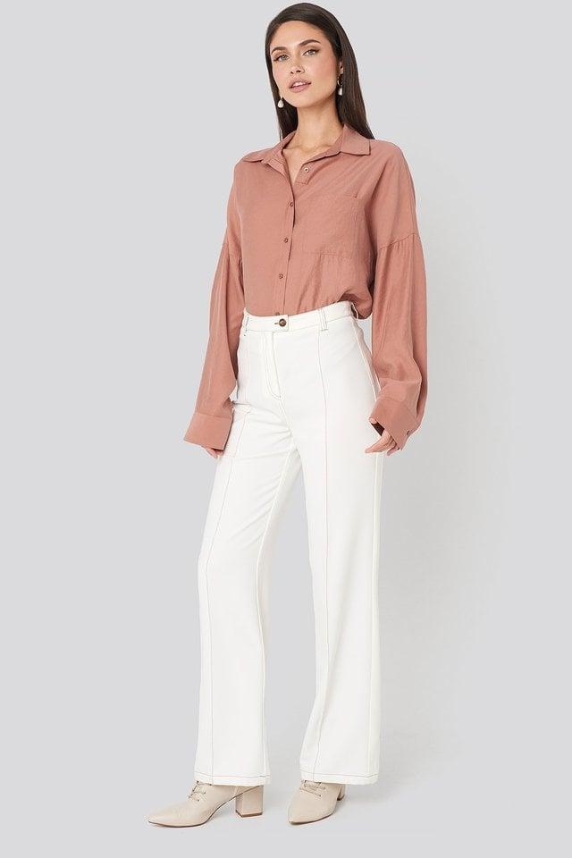 Cream Tweed Suit Pants