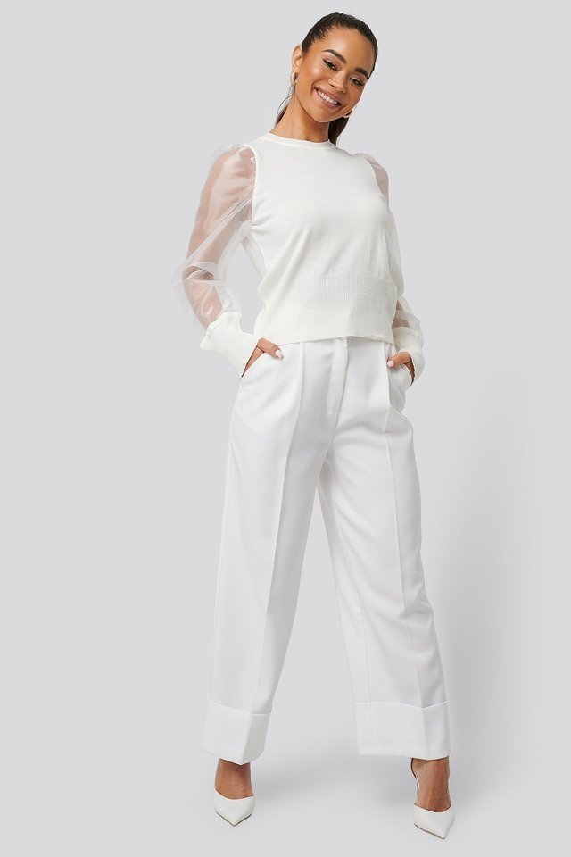 Organza Sleeve Detailed Sweater Outfit.