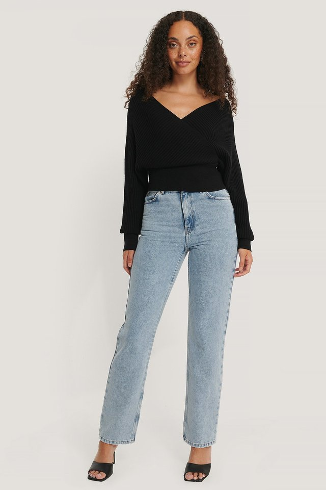 Black Overlap Knitted Wide Rib Sweater