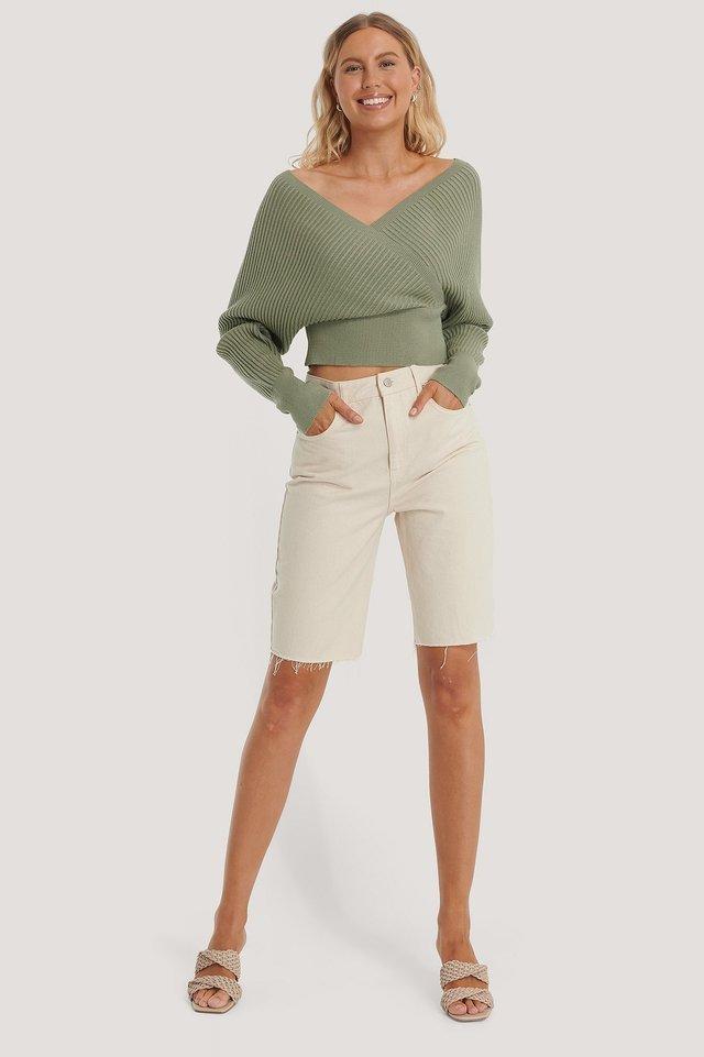 Overlap Knitted Wide Rib Sweater Outfit.