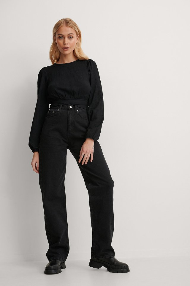 Waist Detail Crepe Top Outfit.