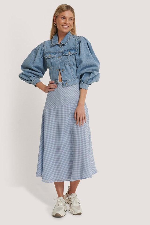 Plaid Sheer Midi Skirt Outfit.