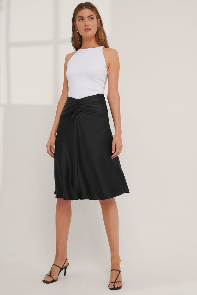 High Waist Sharp Cut Midi Skirt Outfit.