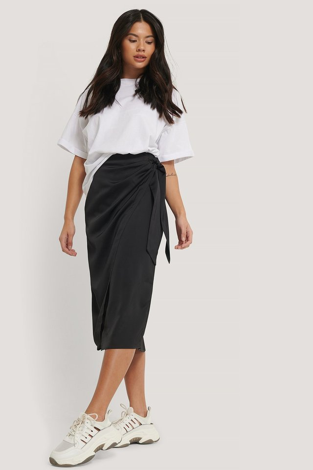 Wrap Tie Skirt Outfit.