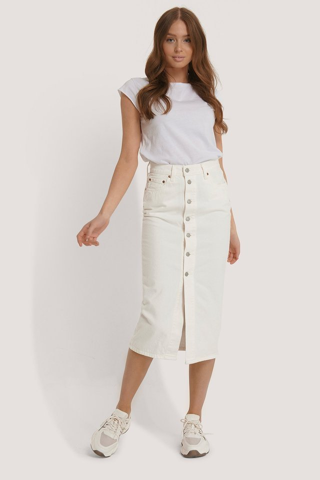 Button Front Midi Skirt Outfit.