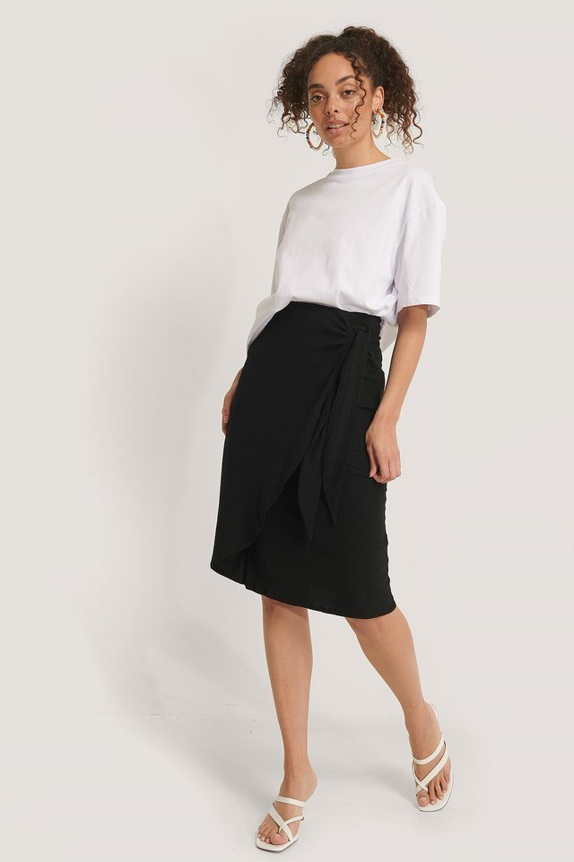 Tie Side Midi Skirt Outfit.