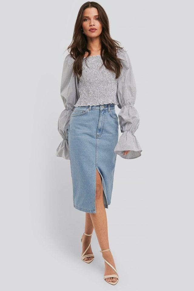 Front Split Midi Denim Skirt Outfit.