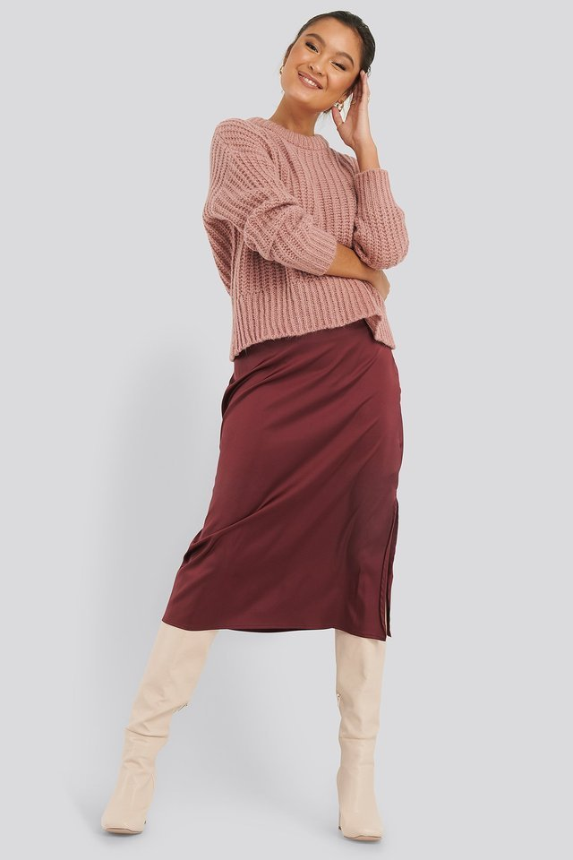 Mohair Blend Chunky Ribbed Sweater Outfit.