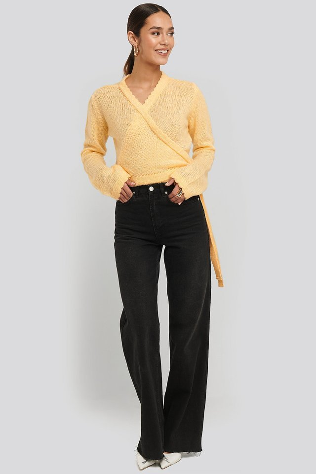 Overlap Rib Detail Knitted Sweater Outfit.