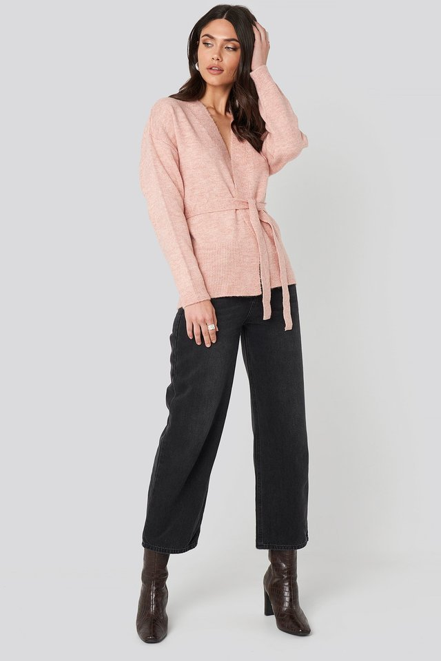 Dusty Pink Overlap Tied Waist Cardigan
