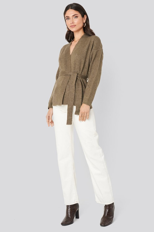 Overlap Tied Waist Cardigan Outfit.