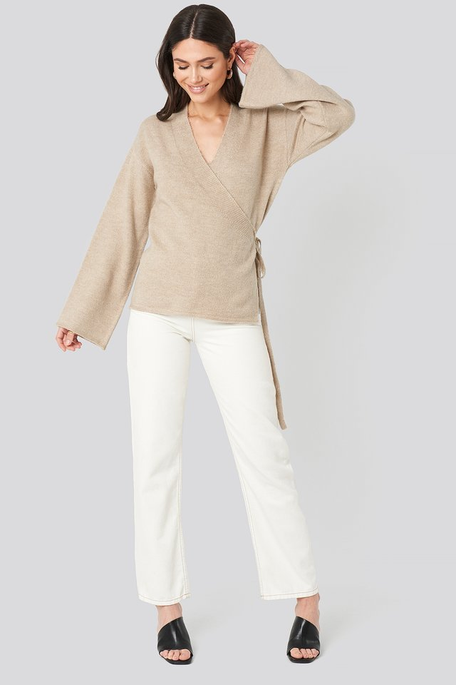 Overlap Wide Sleeve Knitted Sweater Outfit.