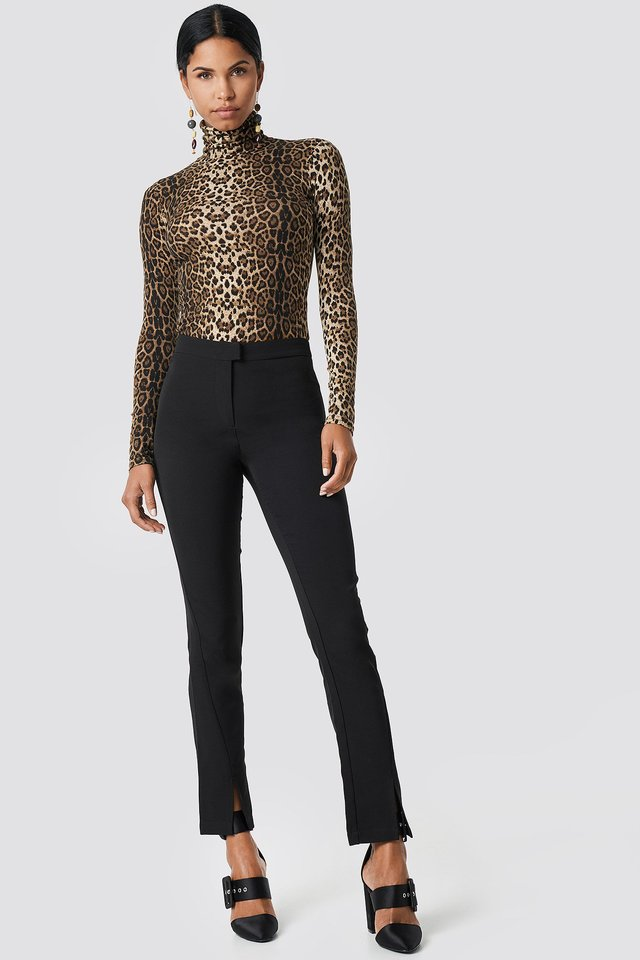 Front Slit Suit Pants with Leo Polo Top