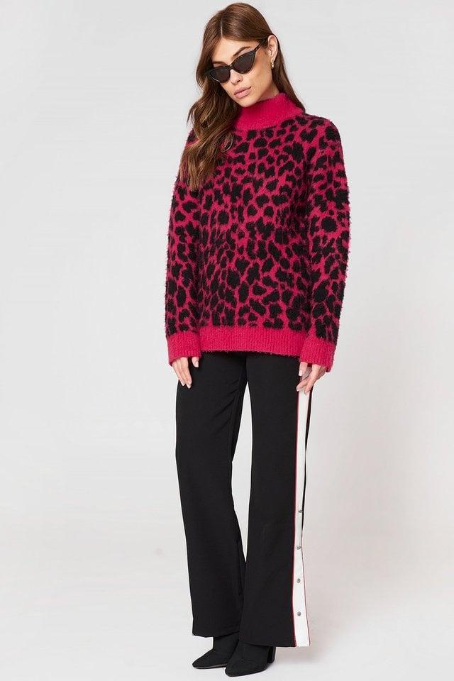 Pink/Black Luźny Dziergany Szczotkowany Kardigan W Lwie Cętki