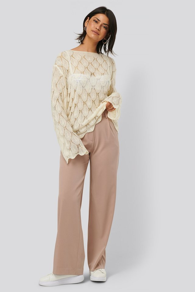Pattern Knitted Long Sleeve Sweater Outfit.