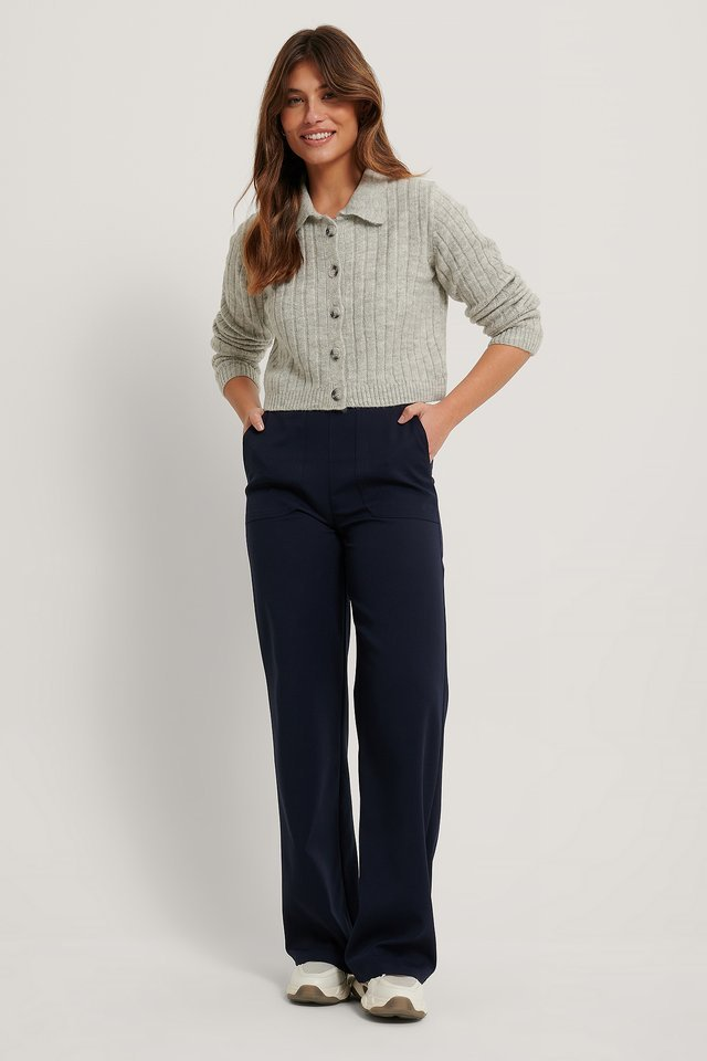 Poloneck Knit Cardigan Outfit.