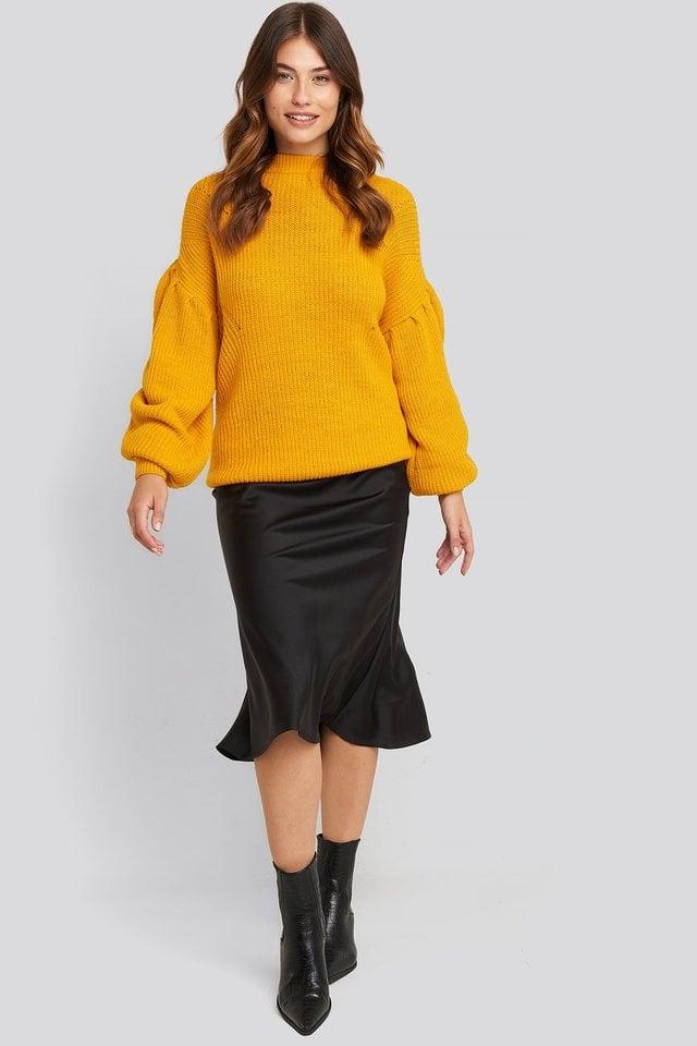 Mustard Puff Sleeve Sweater