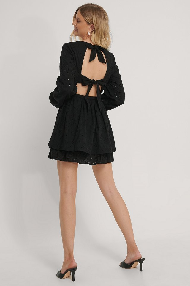 Anglaise Open Back Dress Outfit.
