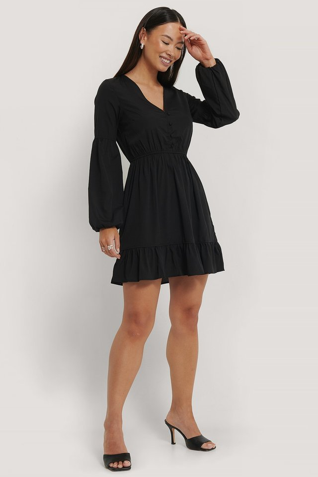 Balloon Sleeve Mini Dress Outfit.