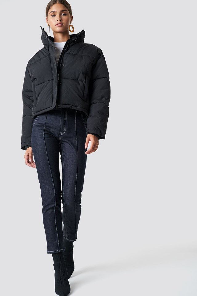 Trendy Padded Jacket and Pleat Jeans Outfit.