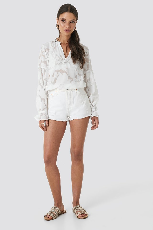 White Destroyed High Waist Denim Shorts