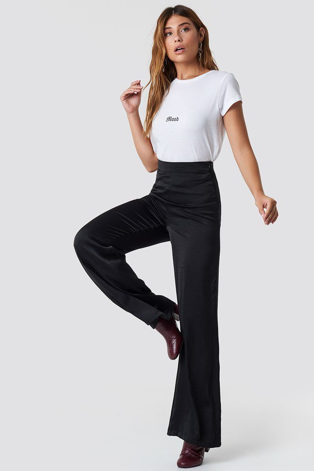 Simple White T-Shirt, Wide Legged Trousers Outfit.