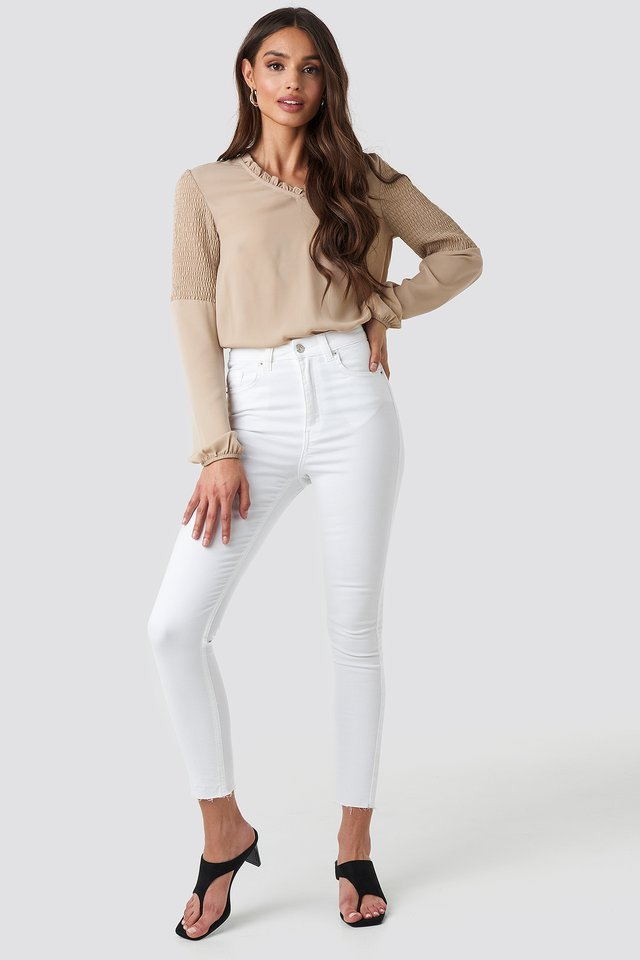 Frill Neck Shirred Part Blouse Outfit.