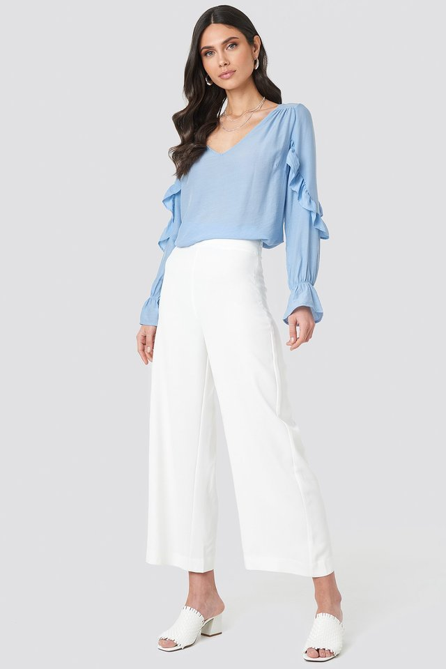 Frill Sleeve Blouse Outfit.