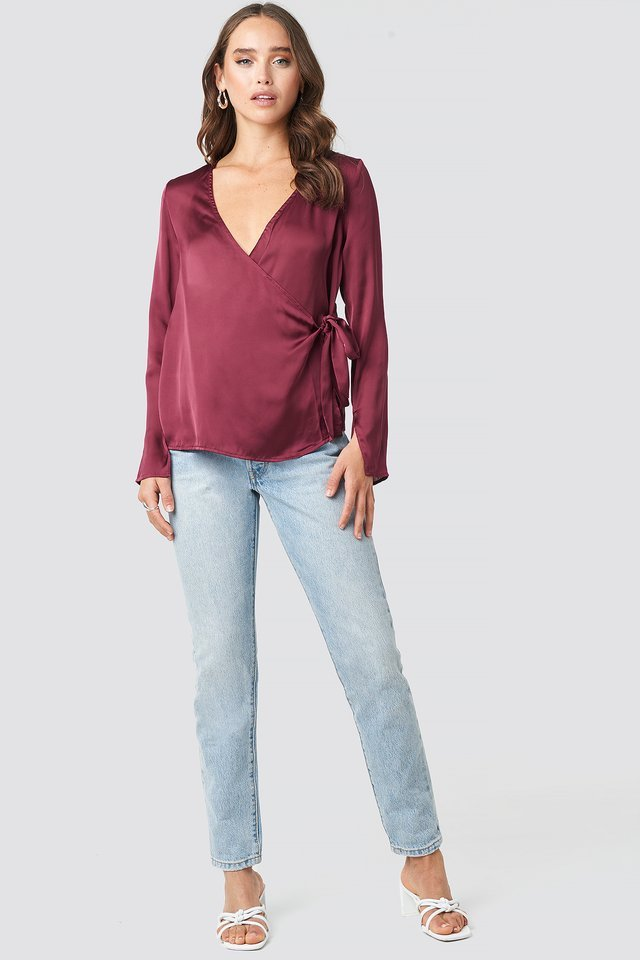 Overlap Side Tie Satin Top Outfit.