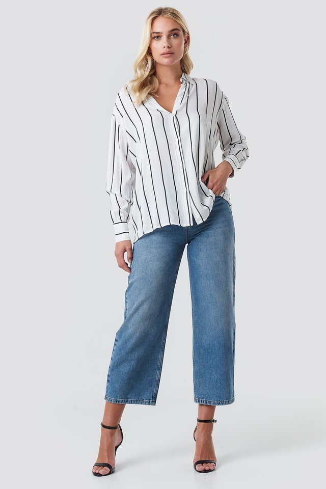 Oversized Stripe Shirt Outfit.