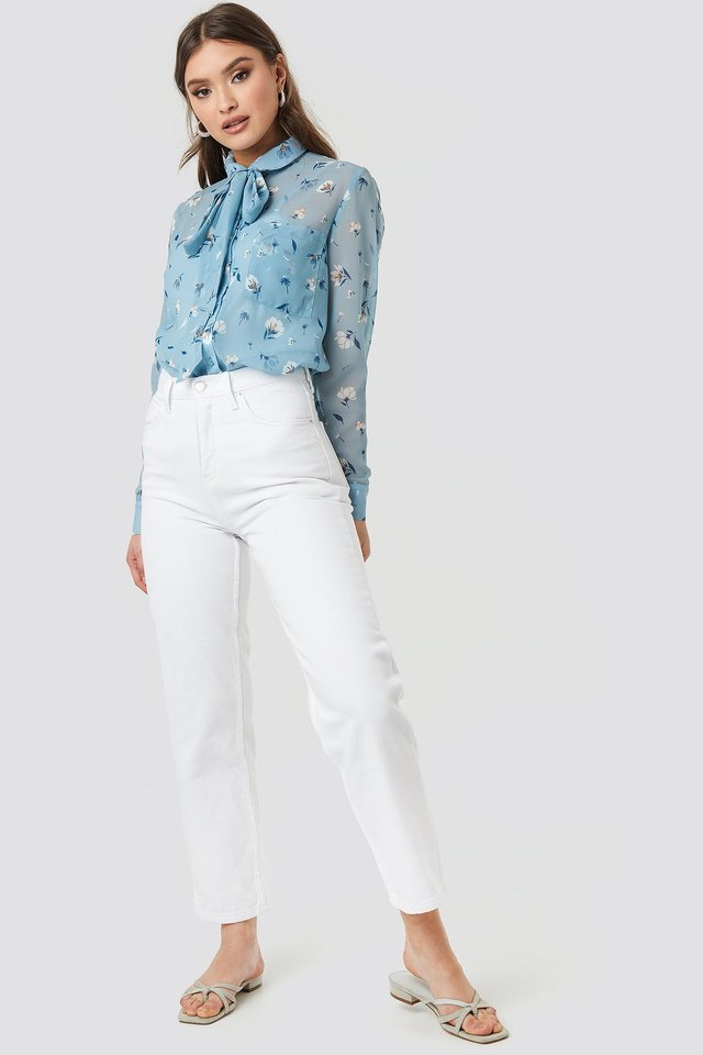 Floral Print Sheer Pussy Bow Blouse Outfit.